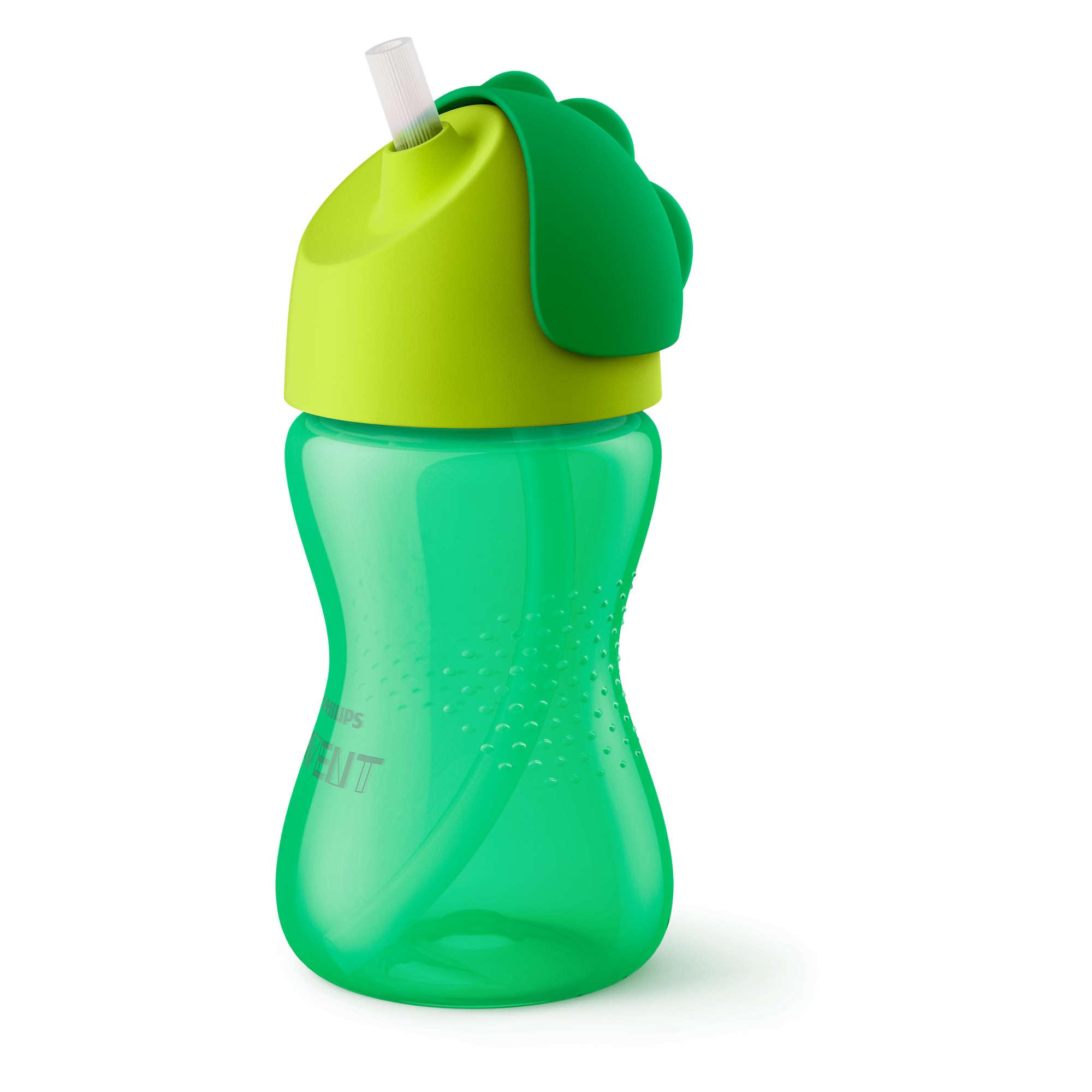 AVENT Krūzīte ar elastīgu salmiņu, 300 ml, 12M+, zaļa SCF 798/01 piederumi bērnu barošanai