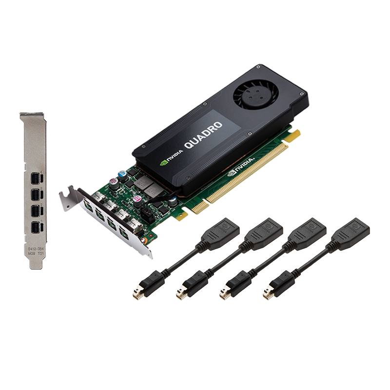 PNY NVIDIA Quadro K1200 DP, 4GB GDDR5 (128 Bit), 4xminiDP (4xminiDP to DP), LP video karte