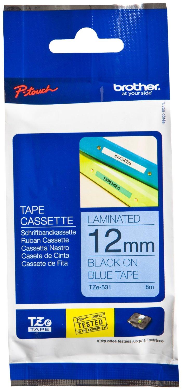 BROTHER TZE531 tape black/blue 12mm 8m biroja tehnikas aksesuāri