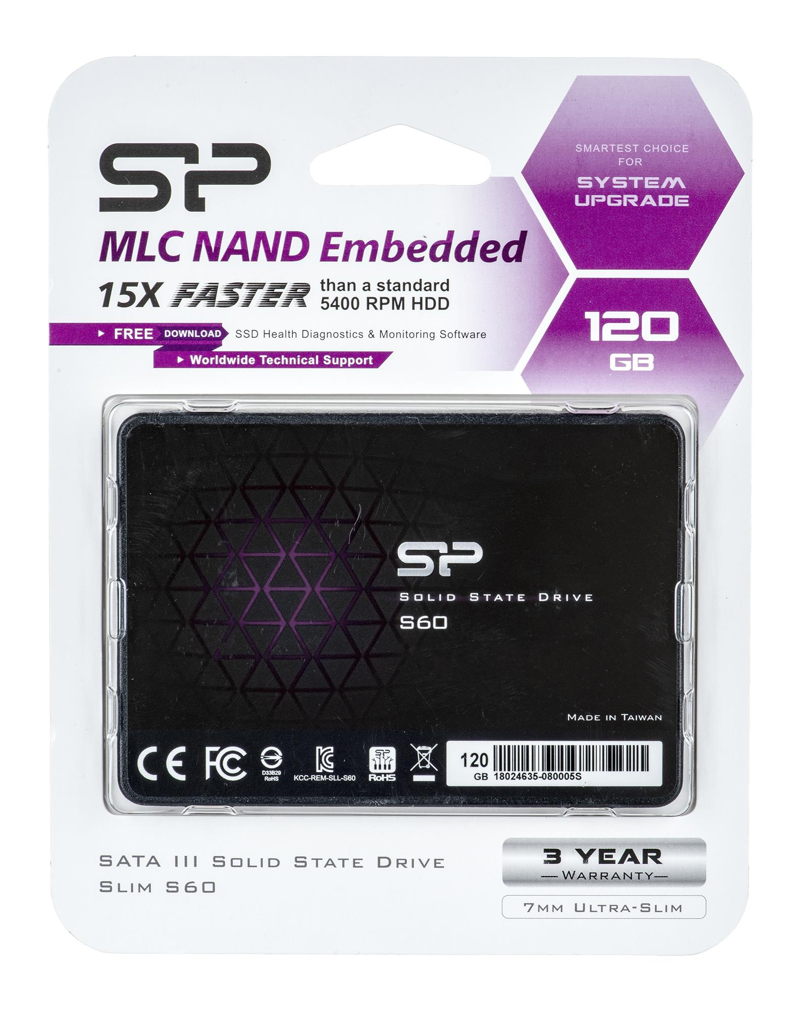 "SILICON POWER SSD S60 120GB 2.5""  SATAIII 6Gb/s Read Speed: Up to 520MB/s, Write Speed: Up to 460MB/s SSD disks"
