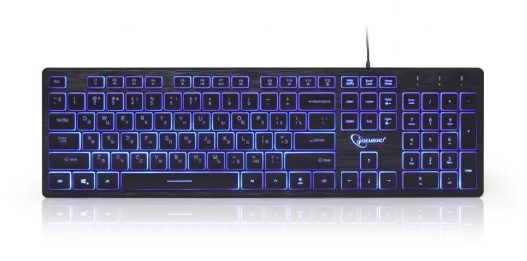 Gembird 3-color backlight multimedia keyboard, black, RU layout klaviatūra