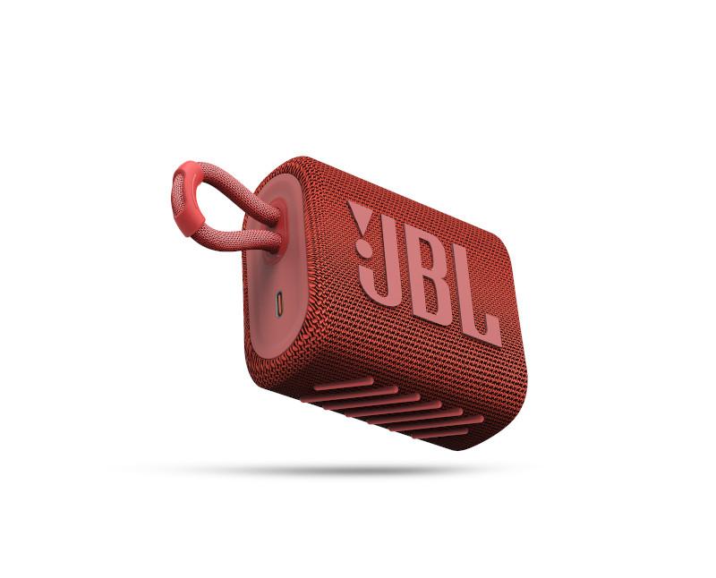 JBL ūdensizturīga portatīvā skanda JBL Go 3 sarkana pārnēsājamais skaļrunis