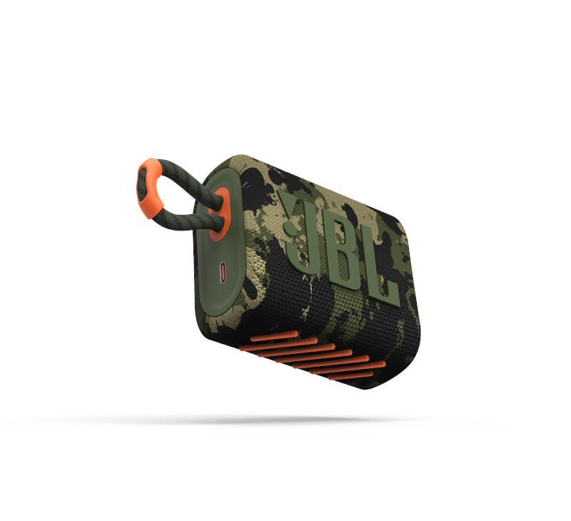 JBL ūdensizturīga portatīvā skanda JBL Go 3 kamuflāža pārnēsājamais skaļrunis