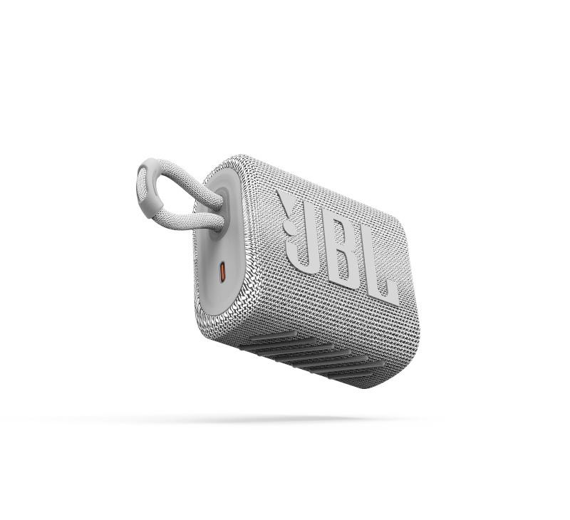 JBL ūdensizturīga portatīvā skanda JBL Go 3 white balta pārnēsājamais skaļrunis
