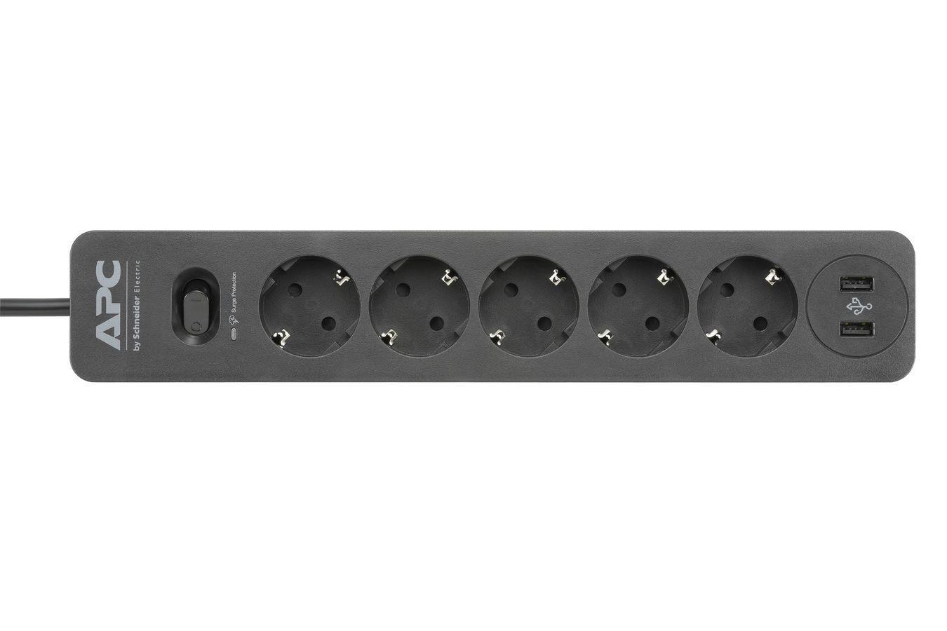 APC ESSENTIAL SURGEARREST 5 OUTLET 2 USB PORTS BLACK 230V GERMANY elektrības pagarinātājs