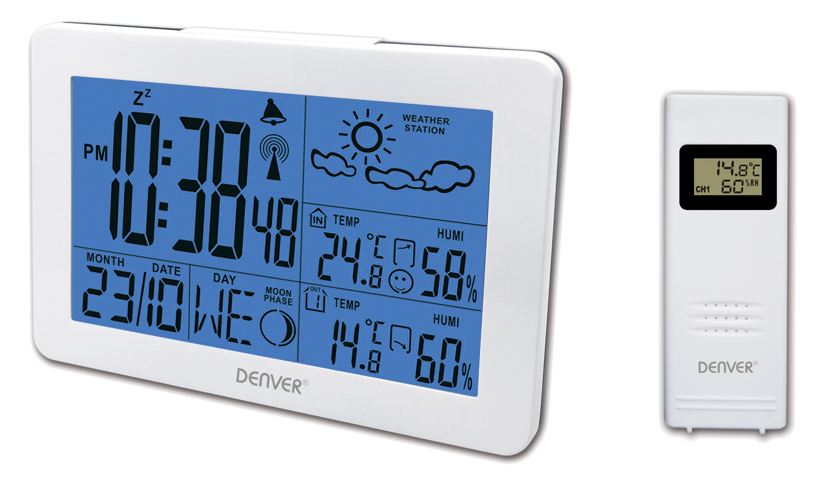 Denver WS-530 white barometrs, termometrs