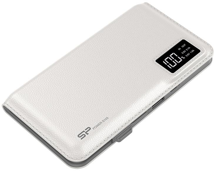 Silicon Power S103 Power Bank 10000mAH, microUSB, USB, LCD, White Powerbank, mobilā uzlādes iekārta