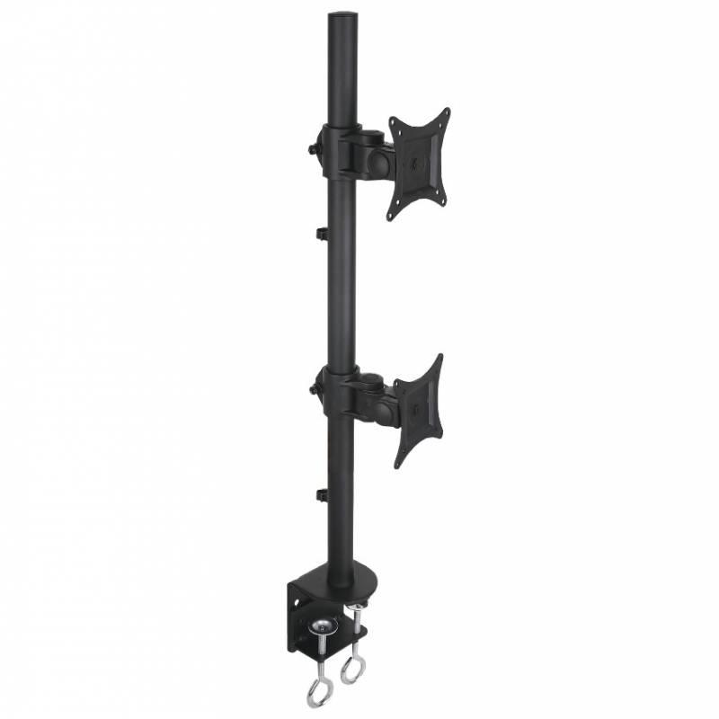Double twin desk LCD / LED desk stand 13-27 inch double, black