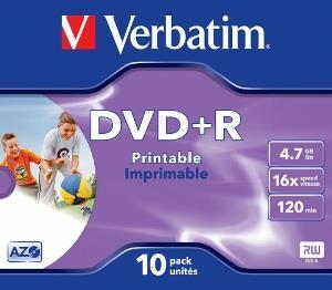 Verbatim DVD+R 4.7GB 16X AZO WIDE PRINTABLE jewel box matricas