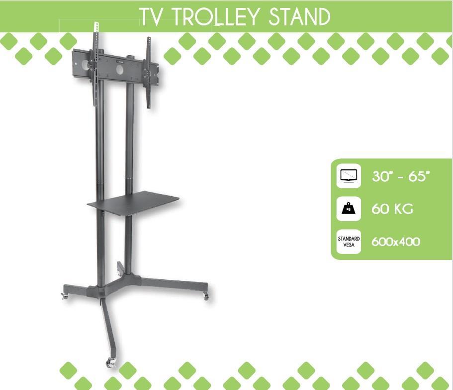Techly Mobile stand for TV LCD/LED/Plasma 30''-65'' 60kg VESA tilting with shelf TV aksesuāri