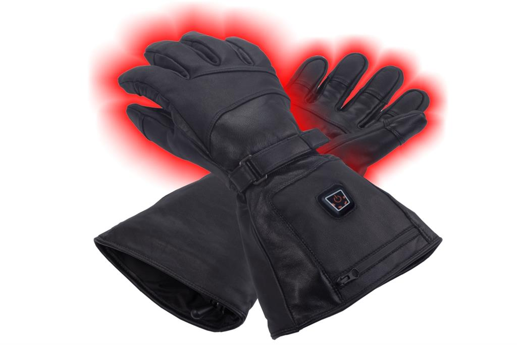 SUNEN Glovii - Universal Ski Battery Heated Leather Gloves, size XL, black kabatas lukturis