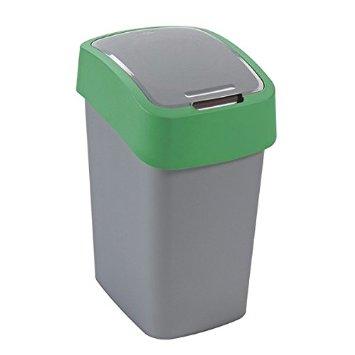 Curver Atkritumu spainis Flip Bin 50L sudraba/zals 0802172P80 atkritumu tvertne