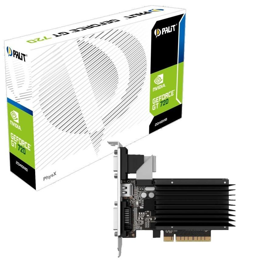 PALIT GeForce GT 710, 2GB SDDR3 (64 Bit), HDMI, DVI, D-Sub video karte