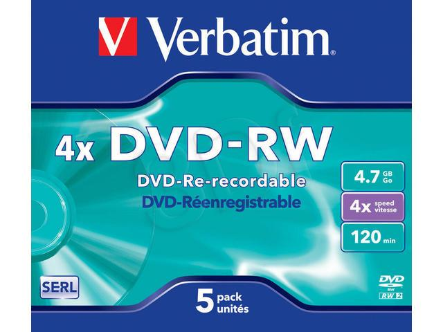 Verbatim DVD-RW 4.7GB 4X MATT SILVER jewel box - 43285 matricas