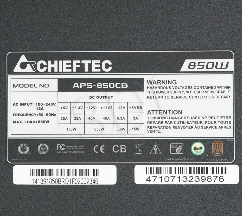 CHIEFTEC 850W ATX12V 2.3 80+ bronze 14cm Barošanas bloks, PSU