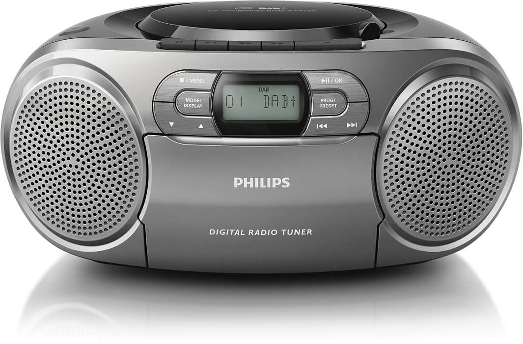 Philips CD Soundmachine AZB600 DAB CD cassette with Dynamic Bass Boost. akustiskā sistēma
