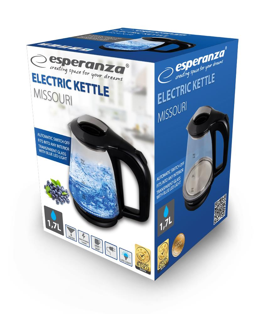 ESPERANZA EKK024K MISSOURI - Electric Kettle 1,7L, GLASS WITH LED LIGHT Elektriskā Tējkanna