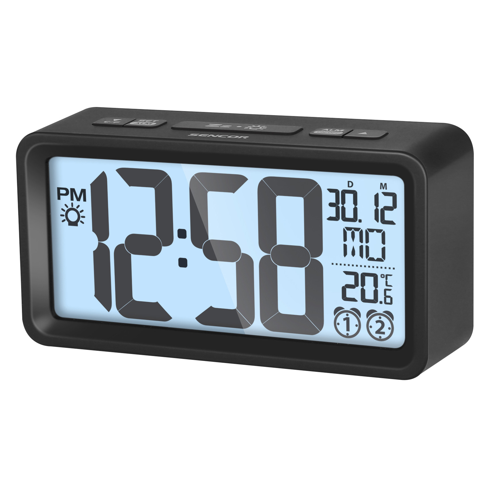 SENCOR Alarm clock with thermometer SDC 2800 black radio, radiopulksteņi