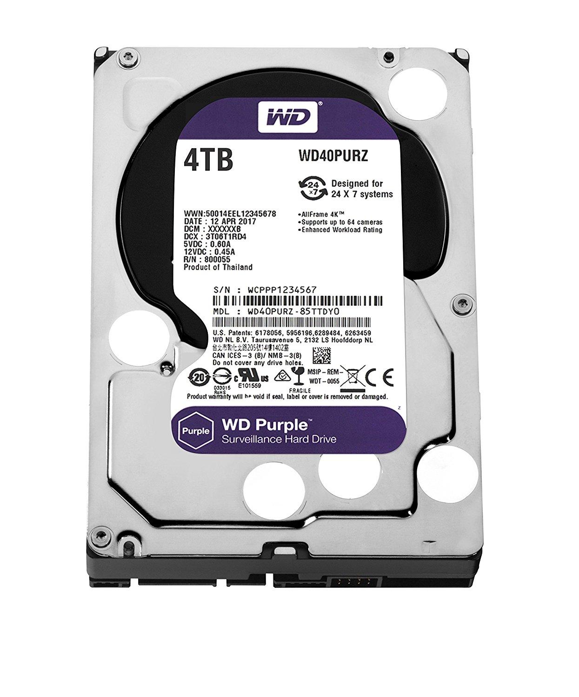 WD Purple 3.5'' 4TB SATA3 64MB cietais disks