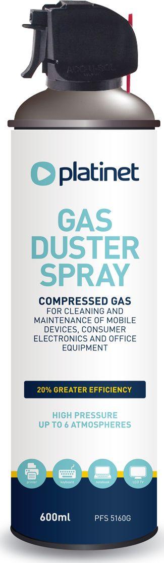 Platinet PFS5160G Saspiests Gaiss putekļu izpūšanai no Datora / TV / Mājas elektronikas / Klaviatūrām / 600 ml tīrīšanas līdzeklis