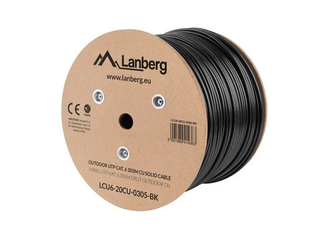 Lanberg LCF6-21CU-0305-BK (F/UTP; 305m; 6; black color) tīkla kabelis