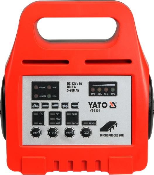 Yato Prostownik elektroniczny 6/12V 8A 5-200Ah (YT-8301) YT-8301 auto akumulatoru lādētājs
