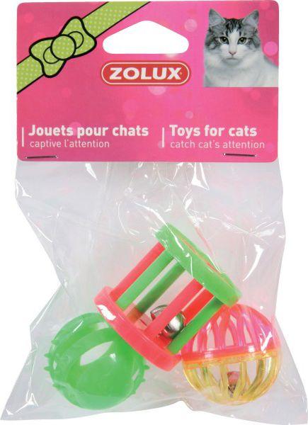 Zolux Zabawka dla kota - zestaw 3 zabawek roznych 4 cm 66940 piederumi kaķiem