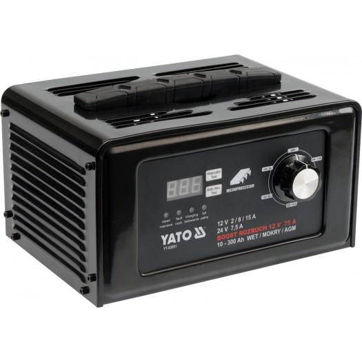 Yato Prostownik elektroniczny 12/24V 15A z rozruchem 75A (YT-83051) YT-83051 auto akumulatoru lādētājs