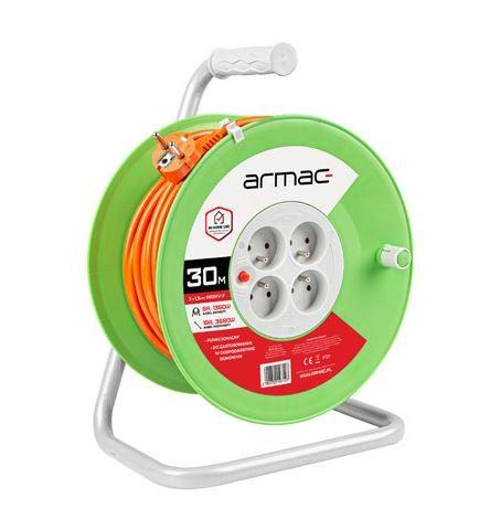 Activejet Extension cable reel 30M 4X2P+Z 16A 3680W 3x1.5MM H05VV-F elektrības pagarinātājs