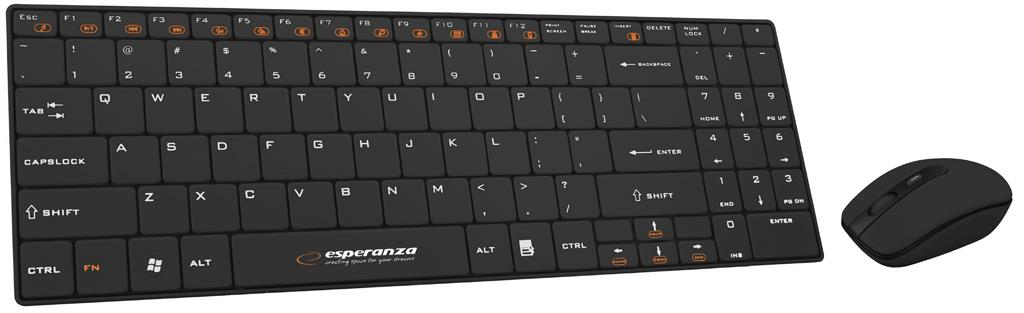 Esperanza EK122K LIBERTY - SLIM Wireless Keyboard + Wireless Mouse USB | 2.4 GHz klaviatūra