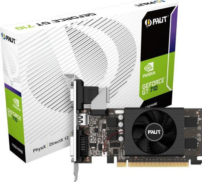 PALIT GeForce GT 710 1GB GDDR5, HDMI, DVI-D, VGA video karte