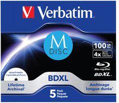 Verbatim 1x5 M-Disc BD-R Blu-Ray 100GB 4x Speed inkjet print (43834) matricas