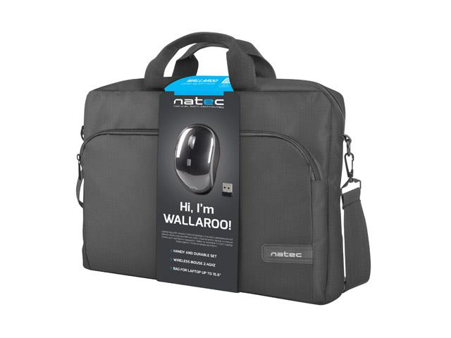 Natec Notebook bag Wallaroo 15,6 black with wireless mouse 5901969412772 portatīvo datoru soma, apvalks