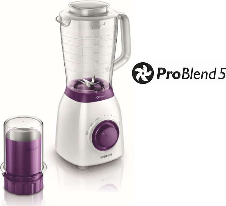 PHILIPS Viva Collection Blenderis, 600W, balts ar violetu HR 2163/00 Blenderis