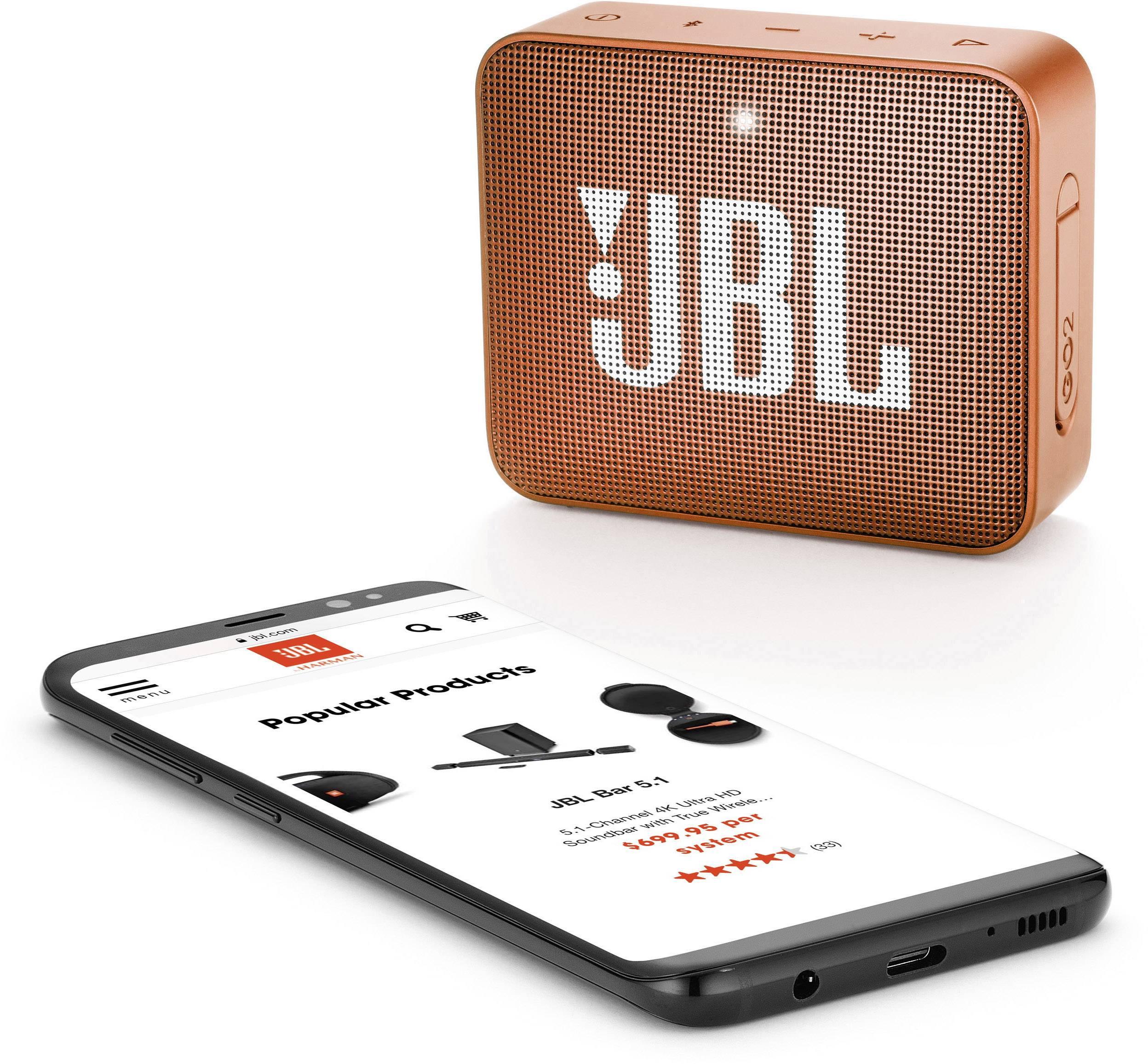 JBL Go 2, compact portable speaker with battery, IPX7 waterproof, Orange pārnēsājamais skaļrunis