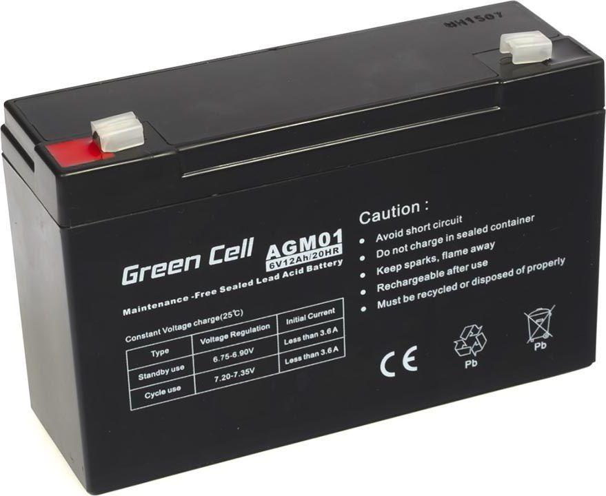 Green Cell Akumulator gel AGM 6V 12Ah (AGM01) UPS aksesuāri