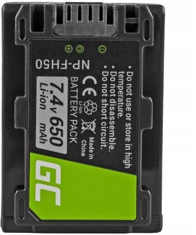 Green Cell Digital Camera Battery for Sony DCR-HC45, DCR-SR300E, DCR-SR70, DCR-SX50E 7.4V 650mAh foto, video aksesuāri