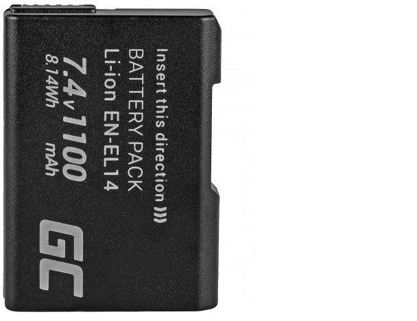Green Cell CB44  EN-EL14 for Nikon D3200, D3300, D5100, D5200, D5300, D5500, foto, video aksesuāri