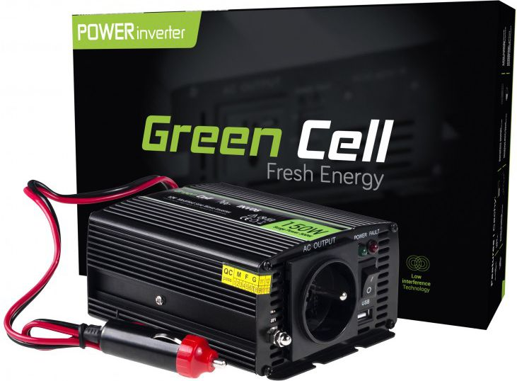Green Cell Car Power Inverter 12V to 230V, 150W/300W Strāvas pārveidotājs, Power Inverter