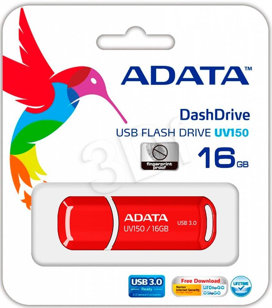 A-DATA UV150 16GB USB3.0 Stick Red USB Flash atmiņa