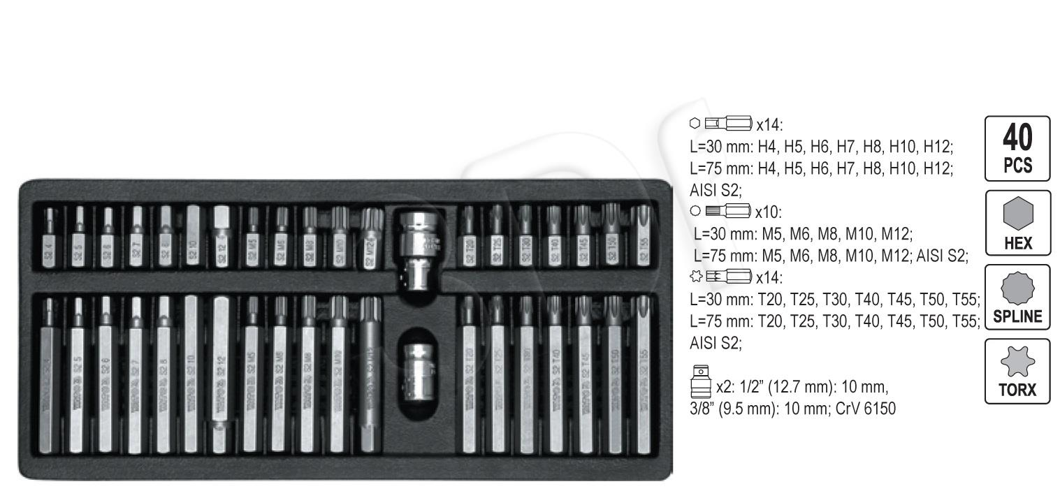 YATO Key Set Torx, Hex, Spline YT-0400