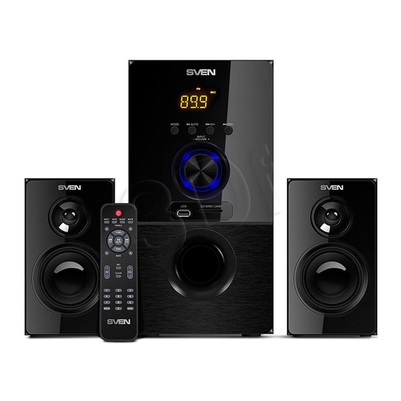 Bluetooth speakers SVEN MS-2050, black (55W, FM, USB/SD, Display, RC, Bluetooth) datoru skaļruņi