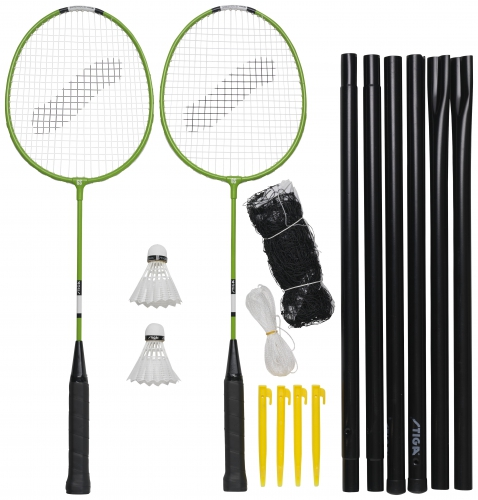 Badmintona komplekts Garden GS (2 Pieauguso raketes + 2 volani + cehols + tikls ar stabiem) badmintona rakete