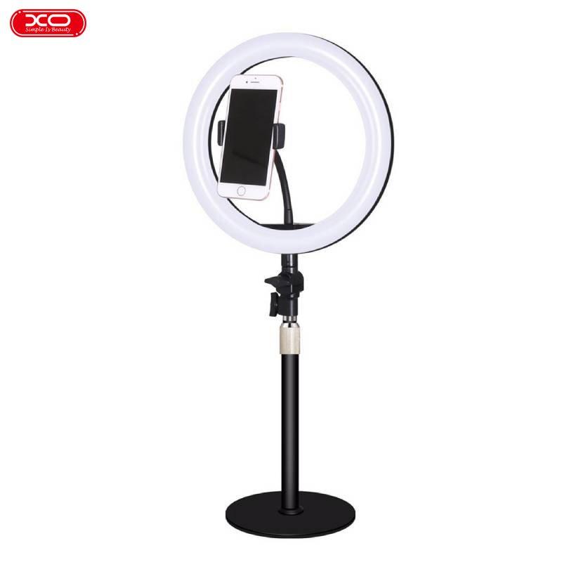 XO L03 Universāls Tālruņa Statīva Turētājs ar 10 collu LED Lampu priekš Selfie / Melns Selfie Stick