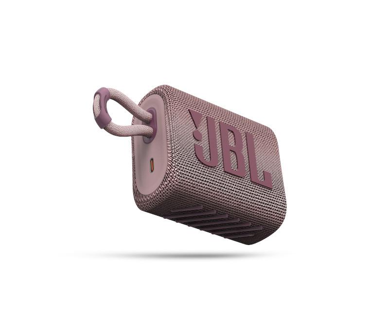 JBL ūdensizturīga portatīvā skanda JBL Go 3 rozā pārnēsājamais skaļrunis