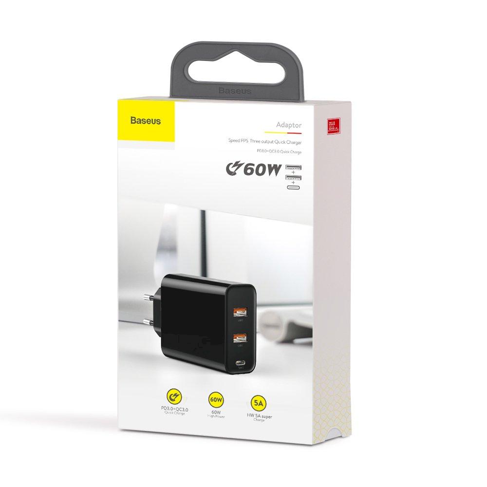 Baseus Home Charger PPS For Type-C + 2USB 60W Black (EU) MOQ:10(CCFS-G01) iekārtas lādētājs