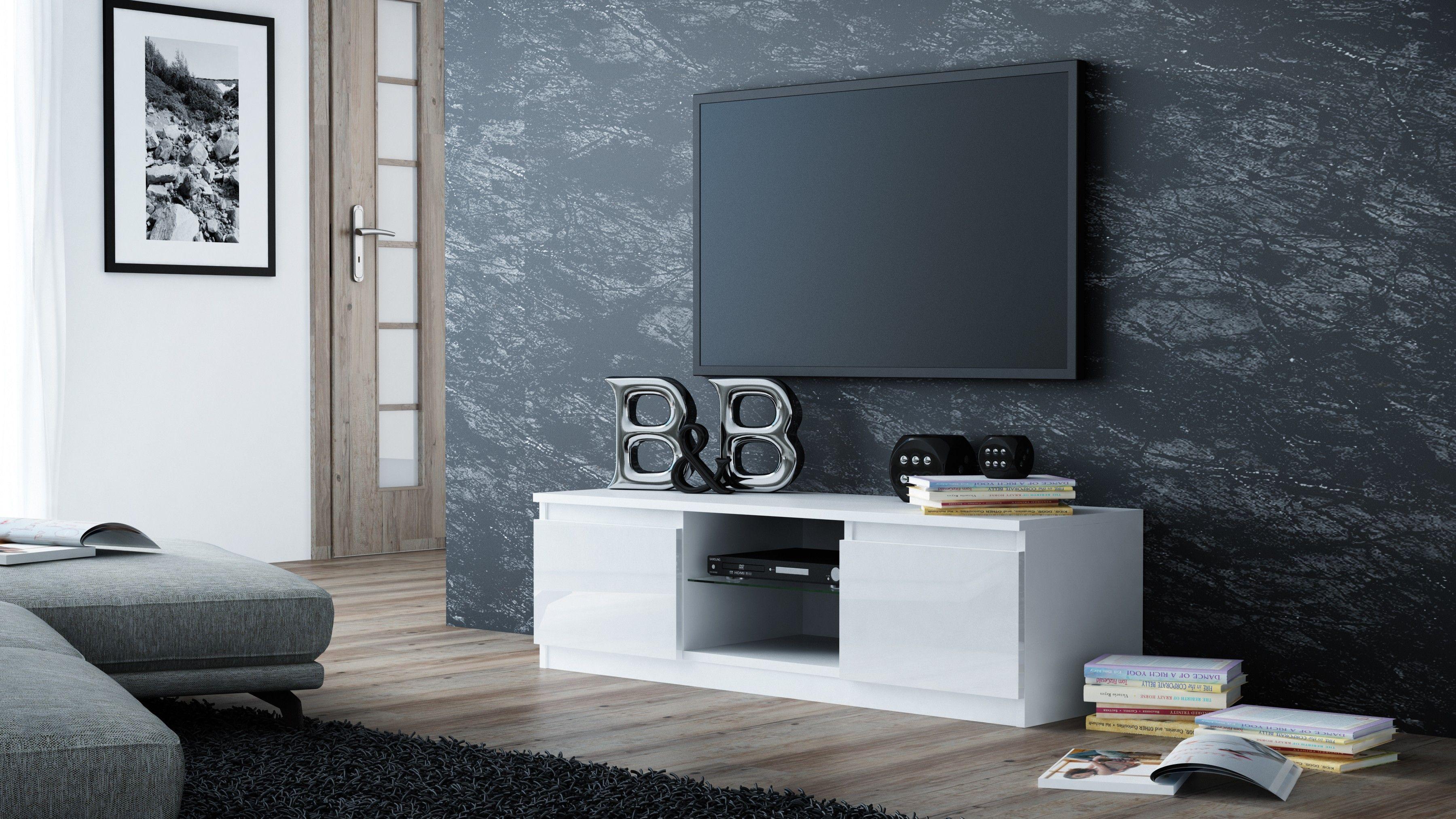 TopEshop Coffee table cabinet rtv 140cm white varnish gloss pane RTV140 BIEL P SZ