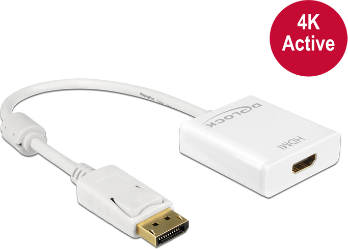 Delock Adapter Displayport 1.2 male > HDMI female 4K Active white karte