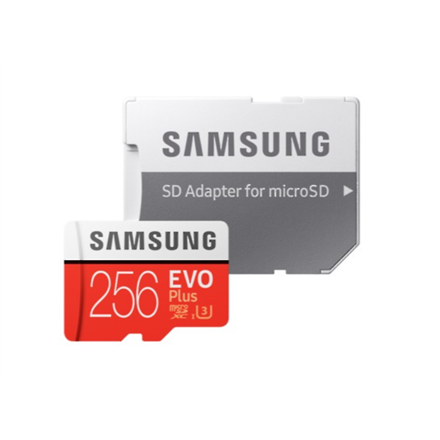 Samsung microSD Card Evo Plus 256 GB, MicroSDXC, Flash memory class 10, SD adapter atmiņas karte