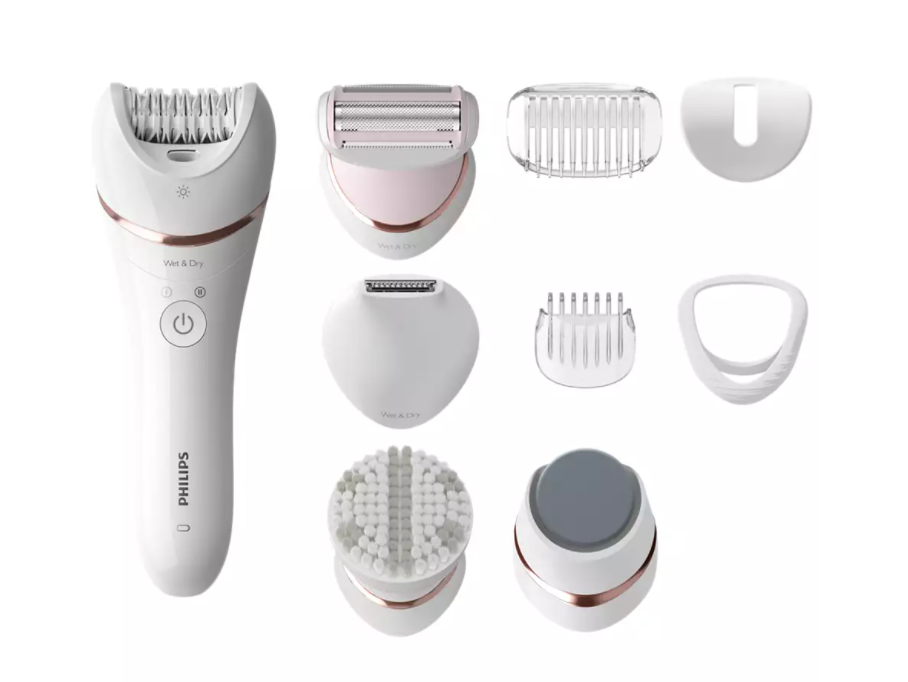 Philips Satinelle Advanced Wet & Dry epilator BRE740/10 For legs and body, Cordless, 9 accessories